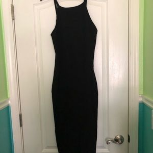 English Factory Black Form Fitting Maxi Dress